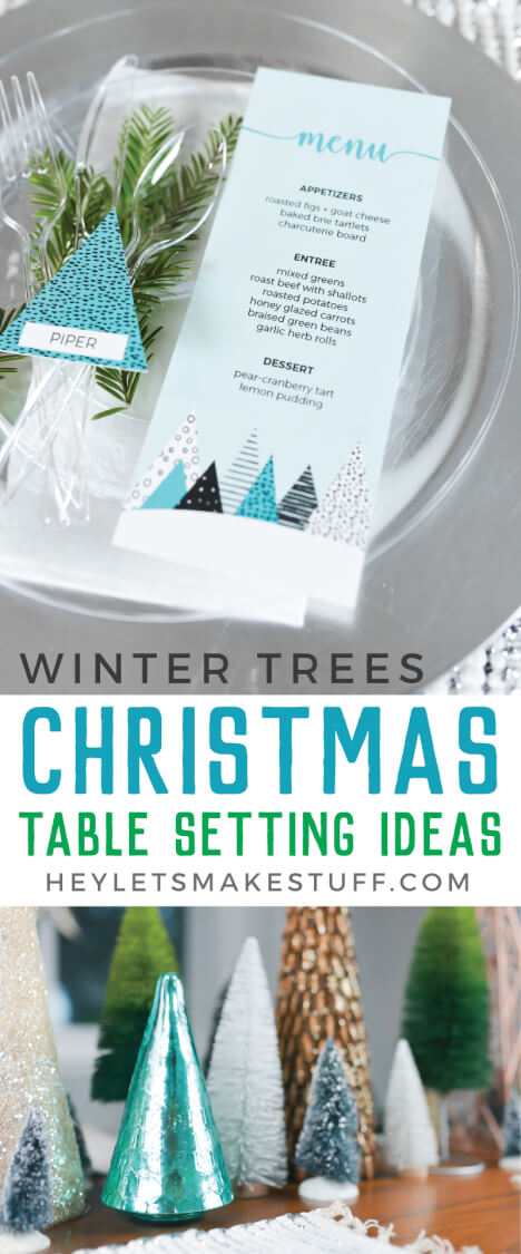 Set a beautiful winter table for any holiday meal with these free printables and Chinet Cut Crystal plates and cutlery!