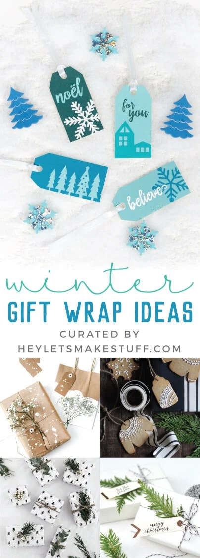 Forgo the traditional red and green christmas wrapping paper for these gift wrap ideas centered around crisp, wintry themes! From printable gift tags to clever wrapping materials, you'll find all sorts of wintry gift wrap inspiration here. via @heyletsmakestuf