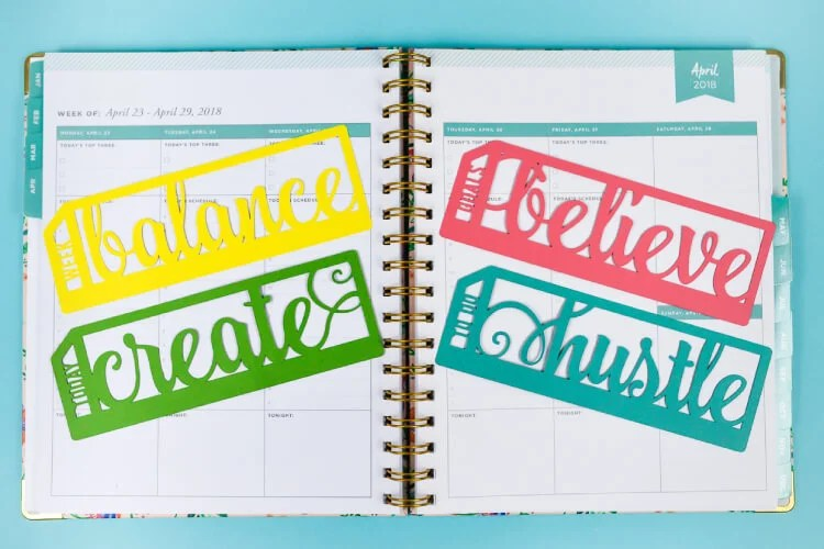 Get the SVG cut files to make these inspirational planner bookmarks on your Cricut or other cutting machine! Plus get nine other inspirational cut files in this amazing January Fresh Cuts bundle.