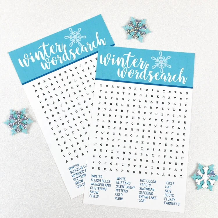 Celebrate the season with this fun winter printable word search! Find all sorts of wintry words—it's perfect for kids, adults, teachers and students!
