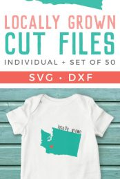 Show your love for your home state with these adorable cut files! Particularly cute on onesies, but also perfect for t-shirts, mugs, and totes. Heart can be moved around to be placed on your hometown. Get them individually or as a set of 50.