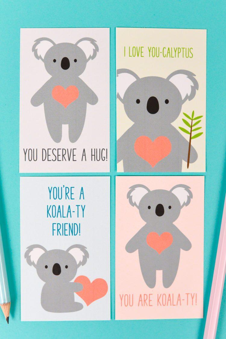 Printable Koala Valentines Hey Lets Make Stuff