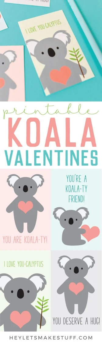 Make this adorable Koala Valentines using your Cricut or other cutting machine with this free download!A cute Valentine for friends and classmates! via @heyletsmakestuf