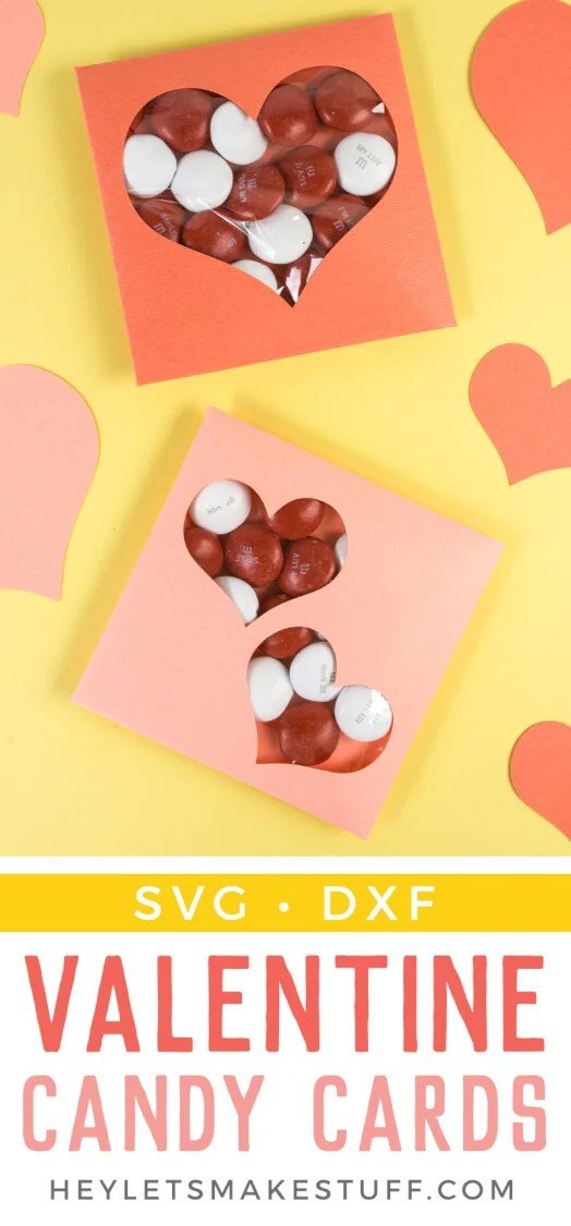 Need a last-minute Valentine's Day gift? These DIY Valentine Candy Cards are easy to make using your Cricut or other cutting machine! An easy Valentine project for friends, classmates, and loved ones. via @heyletsmakestuf