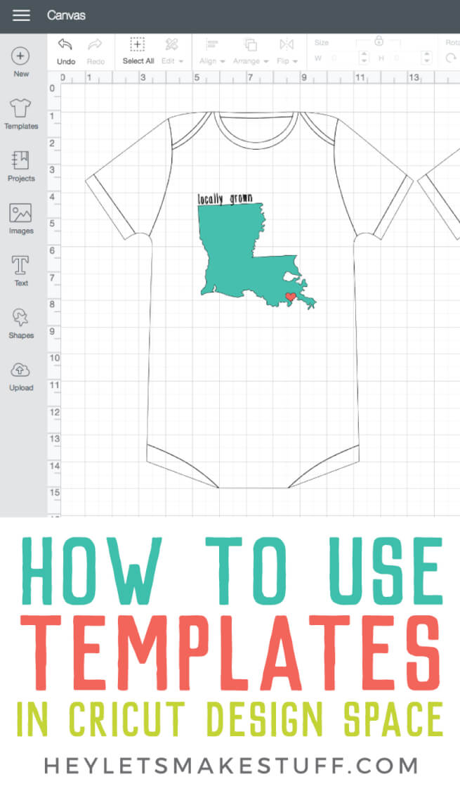 The templates in Cricut Design Space make it so easy to properly size your projects! Figure out the right dimensions for clothes, mugs and tumblers, and all sorts of other materials! via @heyletsmakestuf