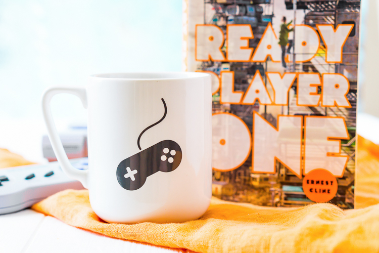 Ready Player One Mug with Game Controller SVG in Gray Vinyl.