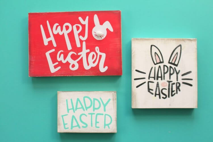 """Happy Easter - 3 Ways"" I'm sharing my favorite FREE SVGs for Easter and spring! All the colors, designs, decor, and adorable characters you'll need for a fun and festive season."