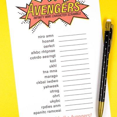 Free Printable Avengers Infinity War Game: Character Scramble