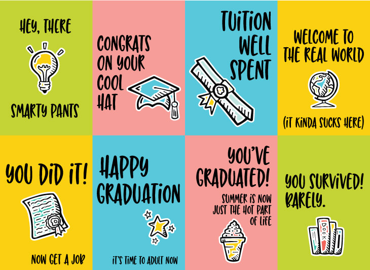 graphic relating to Graduation Cards Printable called Amusing Commencement Playing cards - 8 Totally free Printable Playing cards!