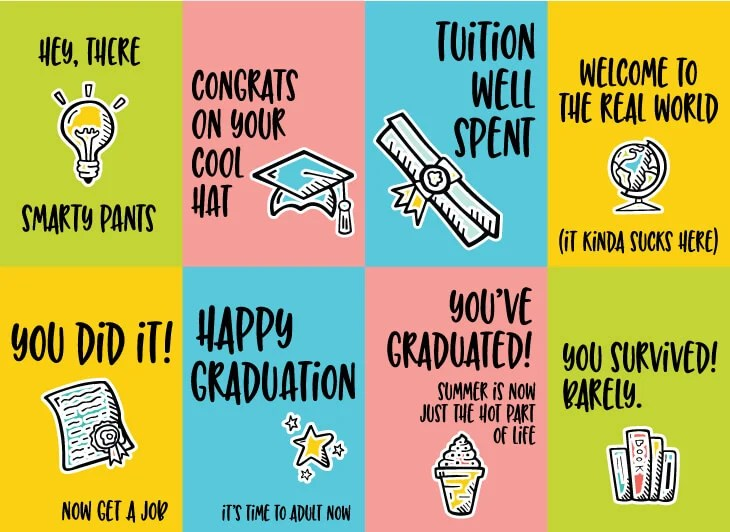 picture relating to Printable Graduation Cards identify Amusing Commencement Playing cards - 8 Cost-free Printable Playing cards!