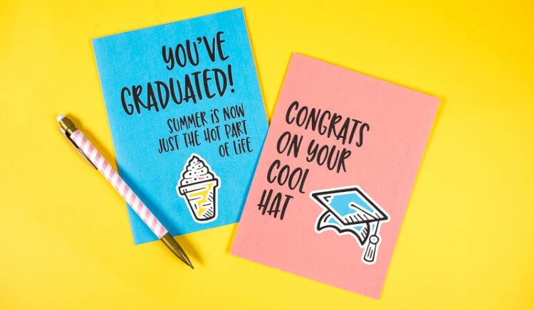 graphic regarding Printable Grad Cards named Humorous Commencement Playing cards - 8 Free of charge Printable Playing cards!