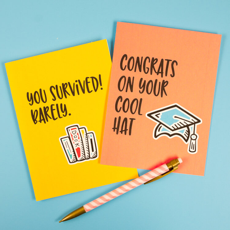 graphic relating to Graduation Cards Printable identified as Amusing Commencement Playing cards - 8 Free of charge Printable Playing cards!
