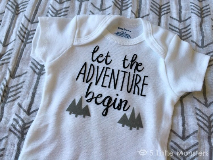 Let the Adventure Begin | Dress your littles in style with these DIY baby onesies! Your Cricut makes these baby favorites easy to put together—and they are perfect for baby showers and newborn gifts!