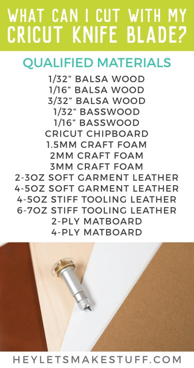 The new Cricut Knife Blade is an amazing tool in your Cricut arsenal. But what are the Cricut Knife Blade materials? Here are the qualified materials, plus a few others that you might try!