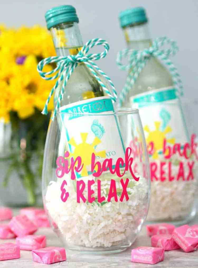 """""""Sip Back And Relax"""" Wine Glasses"""