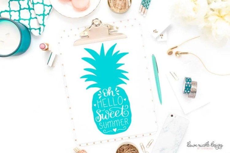 Hand-Lettered Sweet Summer Pineapple Free Cut File
