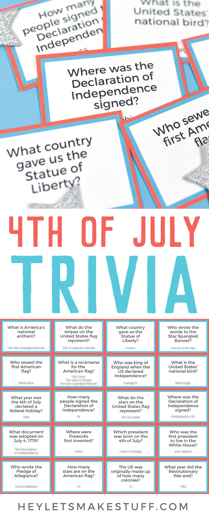 How well do you know your early American history? This printable Fourth of July trivia is not only fun for history buffs, but makes a great game for patriotic parties! Includes both questions and answers. via @heyletsmakestuf