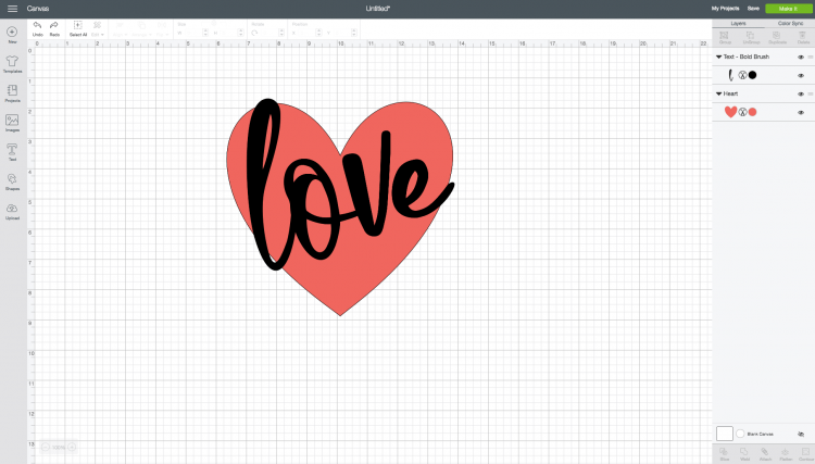 Place word over heart  in Cricut Design Space
