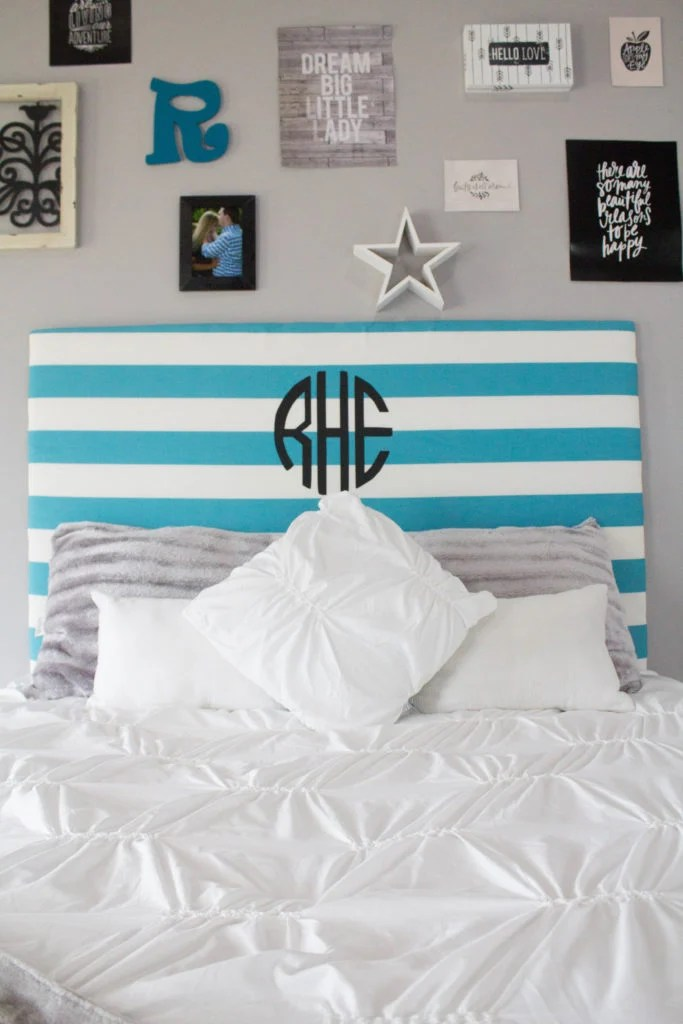 DIY Monogram Headboard from alittlecraftinyourday.com