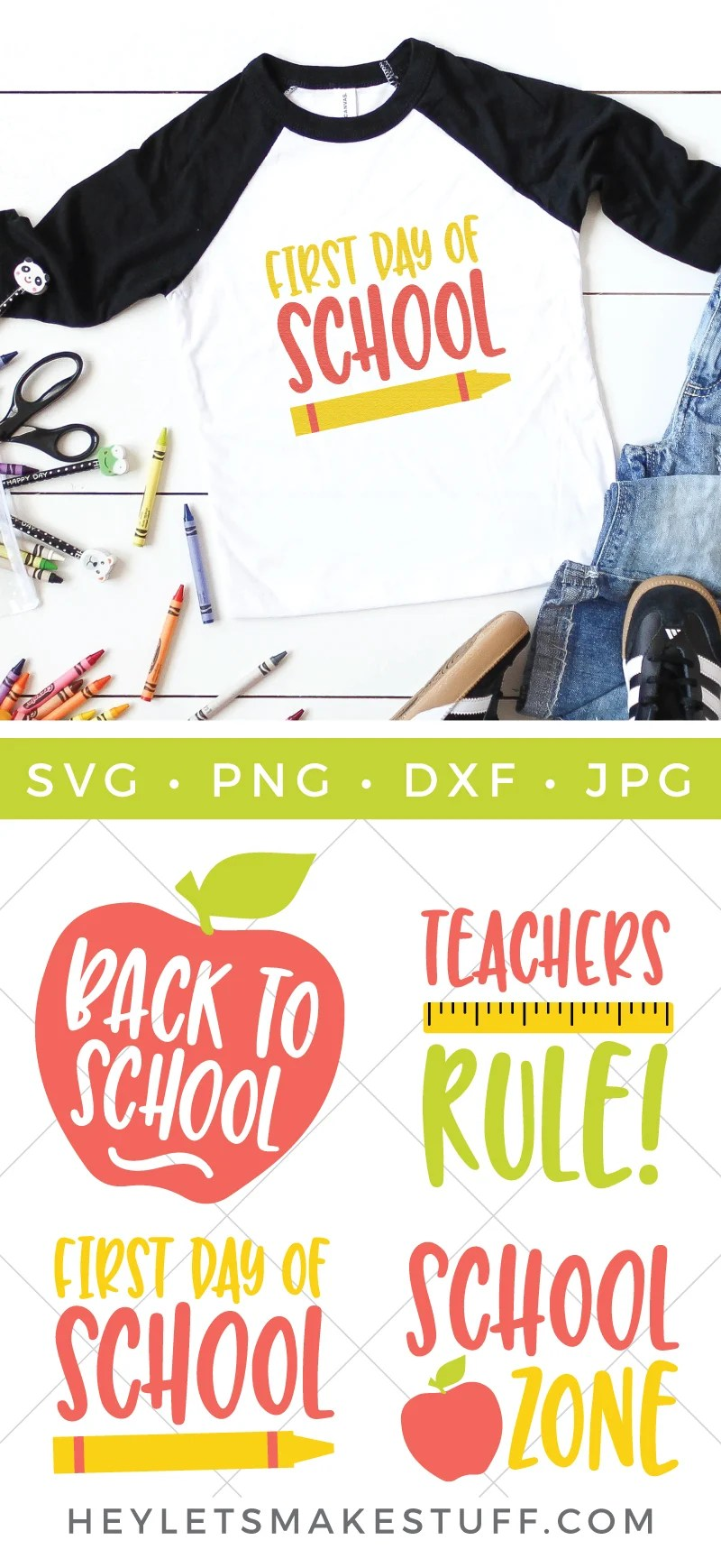 Before you know it school will be back in session! Get ready with this fun Back to School SVG Bundle. Everything you need to craft, create, and customize in the new school year. via @heyletsmakestuf