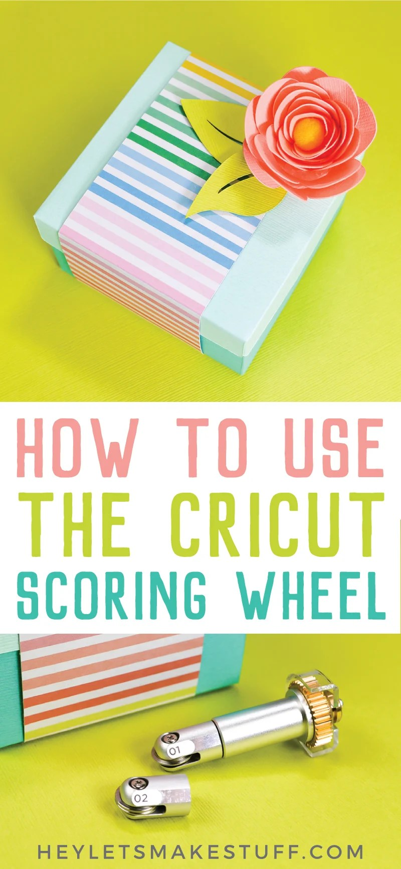 The new Cricut Scoring Wheel cures all of your scoring woes! If you're tired of  faint score lines or cracking materials, the Cricut Scoring Wheel is here to help! via @heyletsmakestuf
