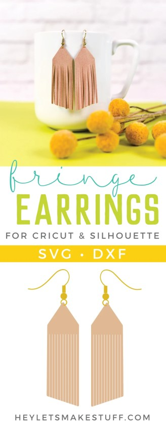 Create these trendy DIY suede fringe earrings! Use faux suede and your cutting machine to add these stylish earrings to your wardrobe.
