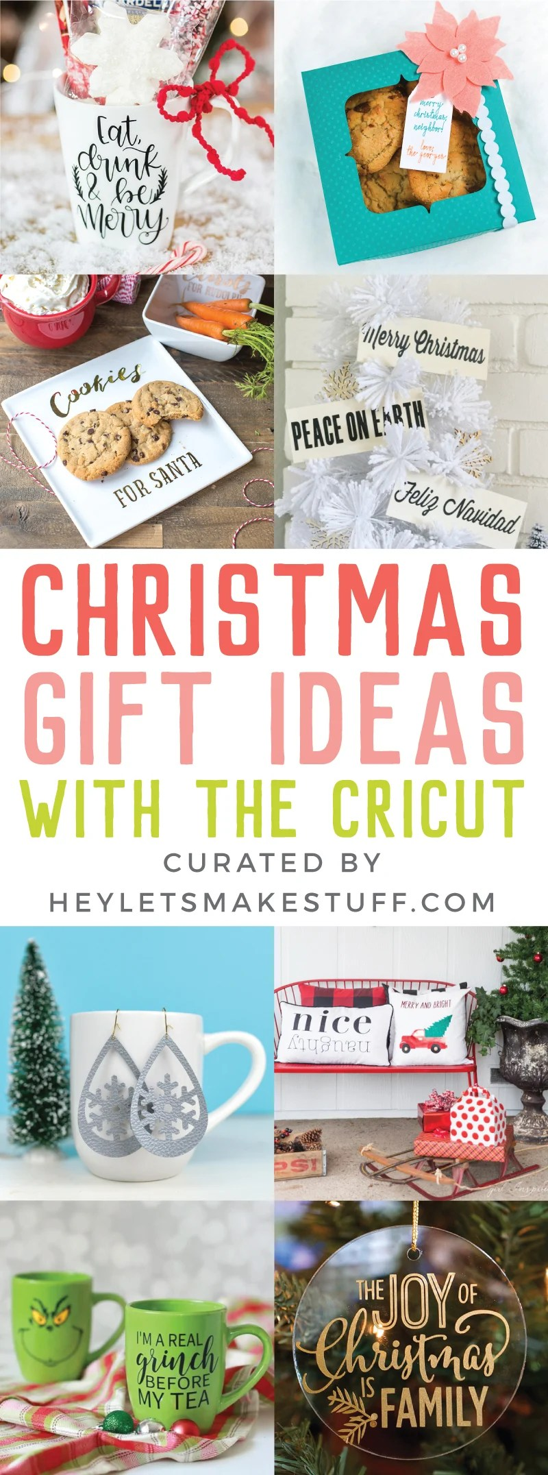 Let's get crafting for Christmas using the Cricut! Here are a ton of easy Cricut gift ideas that are easy and fun to make using your Explore or Maker! via @heyletsmakestuf