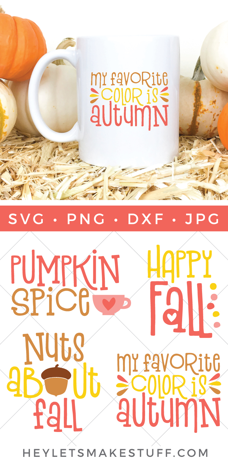 This fall SVG bundle is perfect for making all sorts of adorable autumnal projects! Put them on t-shirts, totes, mugs, and more! via @heyletsmakestuf