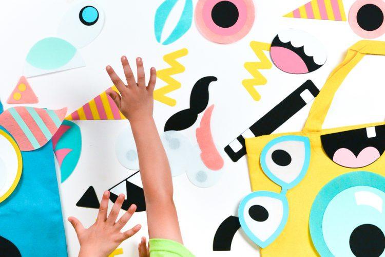 Kids Hands over shapes
