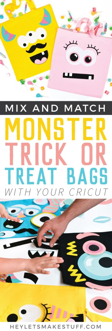 You kids will love going door to door with these monster trick or treat bags! Use your Cricut Maker to craft this fun DIY Halloween craft—make one for each child in your family!