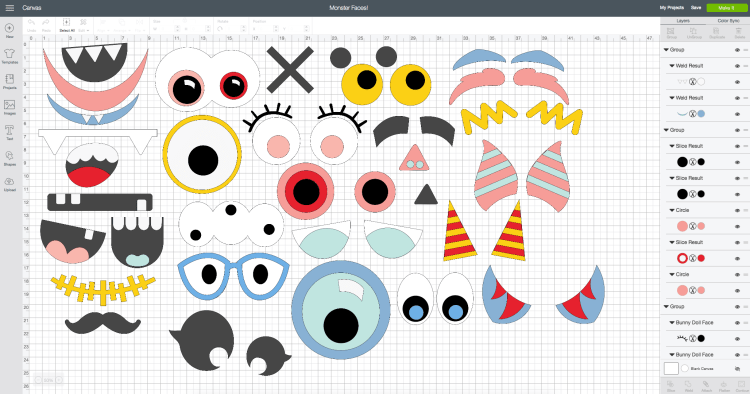 Screenshot of all pieces in Cricut Design Space