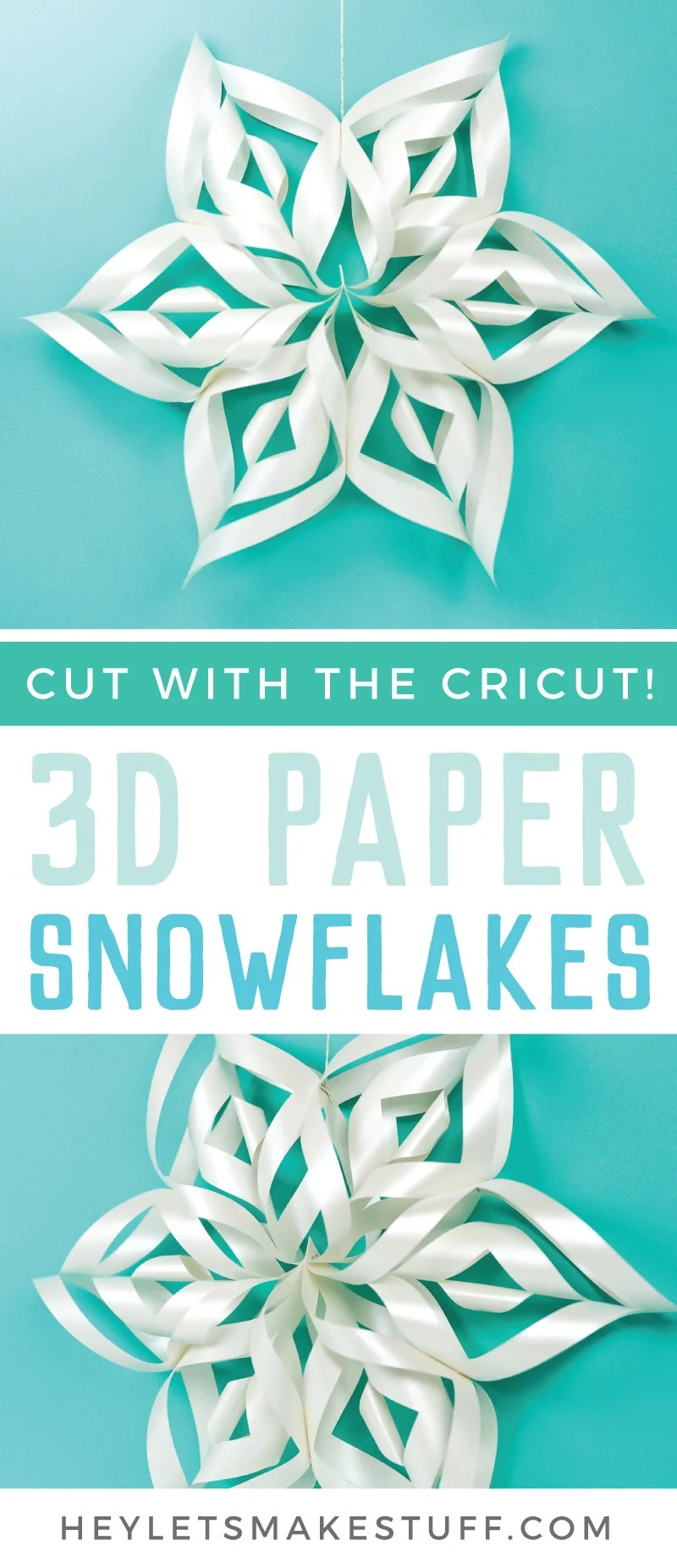 These giant 3D paper snowflakes are fun, whimsical, and will transform your next holiday party into a winter wonderland! Even better, you can cut them using your Cricut and assemble them in minutes. via @heyletsmakestuf
