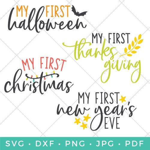 Your baby's first year is full of memories! Use this adorable baby's first holiday SVG bundle to make cute bodysuits or bibs commemorating these firsts!