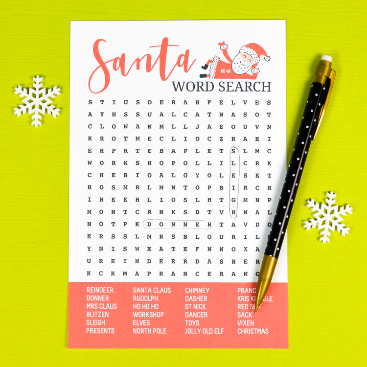 image about Printable Christmas Word Search identify Printable Santa Xmas Phrase Look - Hey, Permits Deliver Things