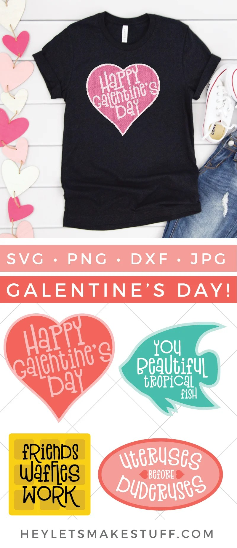 Channel your inner Leslie Knope and throw a Galentine's Day party for you and your besties! These four Galentine's Day SVGs are fun for all sorts of Parks & Rec fun—invitations, cards, t-shirts, tote bags, and more! via @heyletsmakestuf