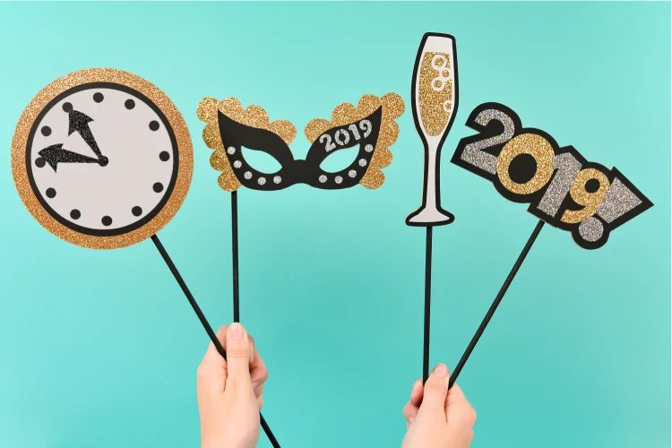 Make any New Year's Eve party more fun with these awesome New Year's Eve Photo Booth Props! Say goodbye to flimsy paper props and make these using chipboard on your Cricut Maker—they'll last well past midnight!