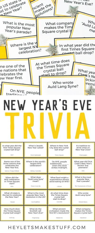 Printable New Year's Eve Trivia