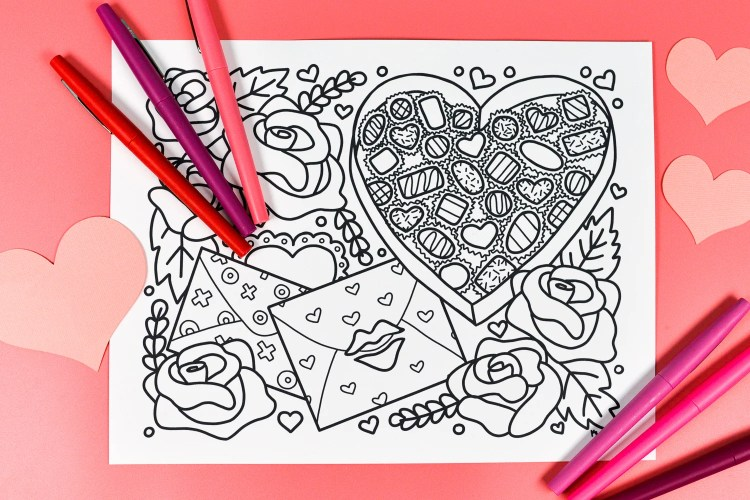 Free Printable Valentine\'s Day Coloring Page - Hey, Let\'s Make Stuff