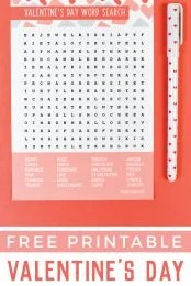 Celebrate the day of love with this fun printable Valentine's Day word search! Find all sorts of love-related words—it's perfect for kids, adults, teachers and students!