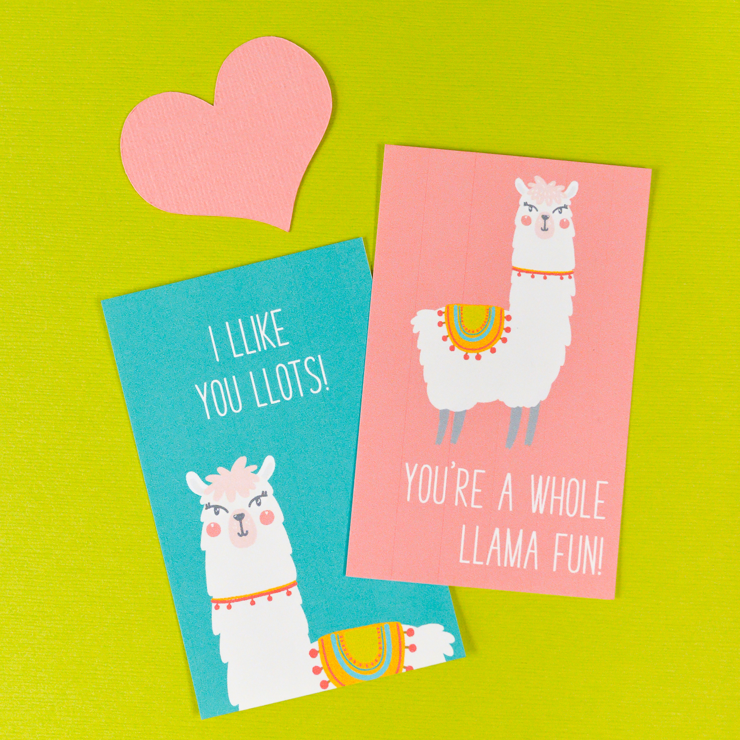 Print these four too-cute Cactus and Llama Valentines with this free download! An adorable printable Valentine for friends and classmates—who wouldn't want to get a llovely llama in their mailbox on Valentine's Day?