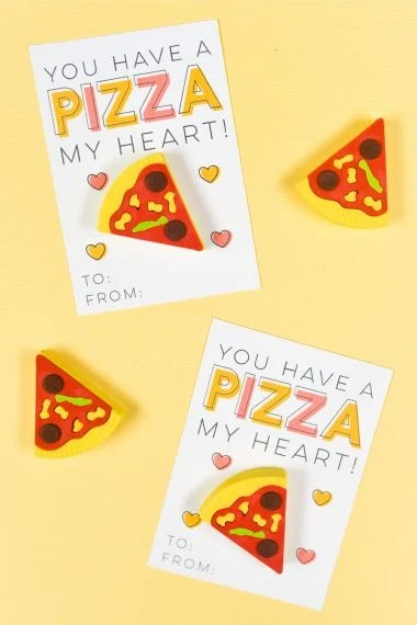 These delicious printable Pizza Valentines Day Cards are the perfect Valentine treat or party favor! Just print, add a cute novelty pizza eraser, and you're ready to go—you can make them in less than 10 minutes!