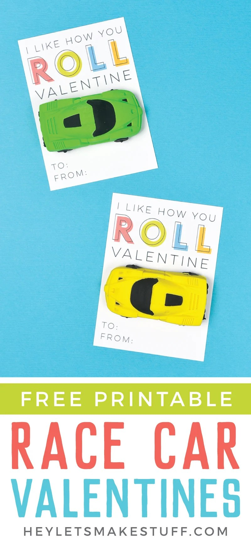 These fun printable Race Car Valentines are the perfect Valentine for boys and girls! Just print, add a cute novelty race car eraser, and you're ready to go—you can make them in less than 10 minutes! via @heyletsmakestuf