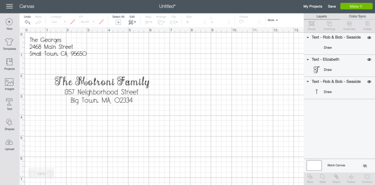 Add your address and return address using writing fonts
