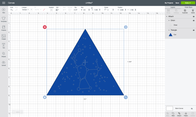 select both the triangle and the constellation shape and click Attach