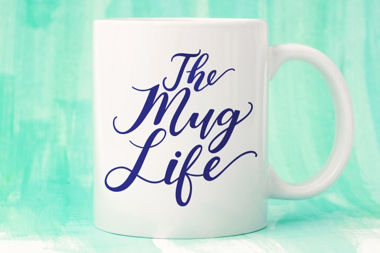 The Mug Life SVG on a white mug