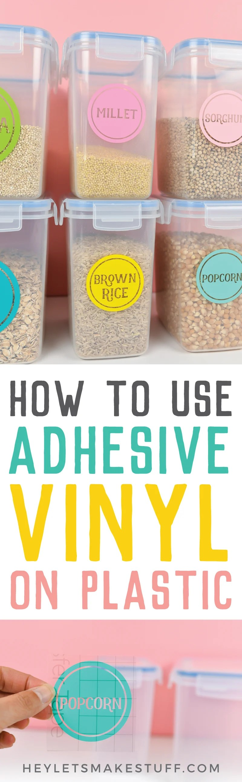 Plastic can be one of the easiest surfaces for adhesive vinyl! This application is perfect for pantry labels and other organization around your home—get all my best tips and tricks for using vinyl on plastic.  via @heyletsmakestuf