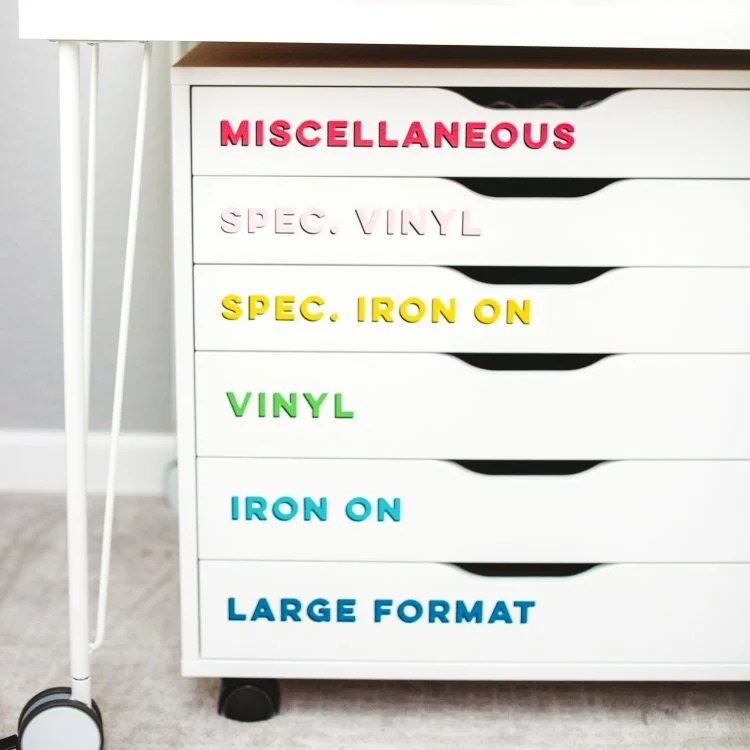 Close up of craft room labels on Alex drawers.