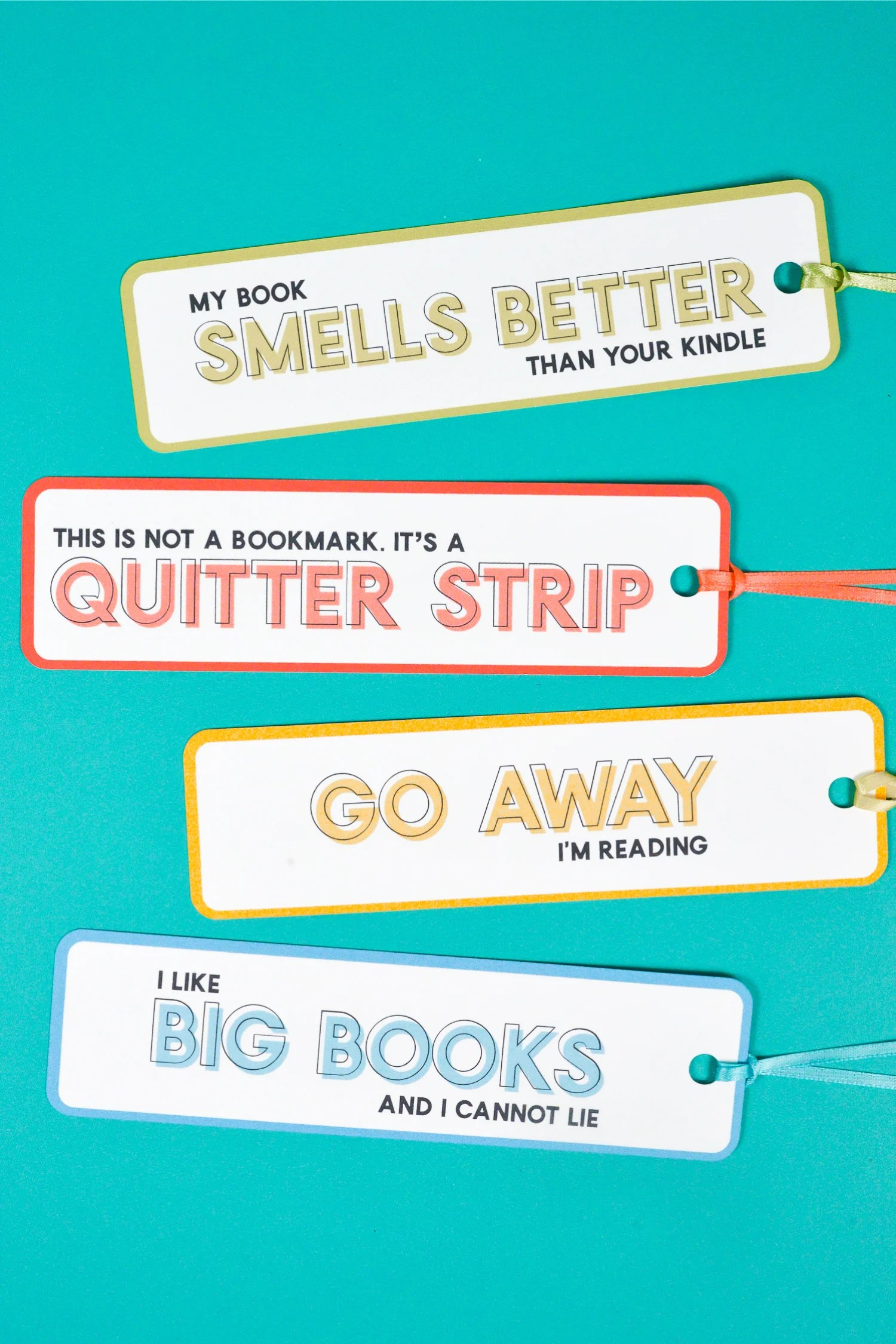 These funny bookmarks are the perfect fix any time you're diving into a particularly hilarious book! A free PDF/SVG download for printing or using Cricut's Print then Cut feature.