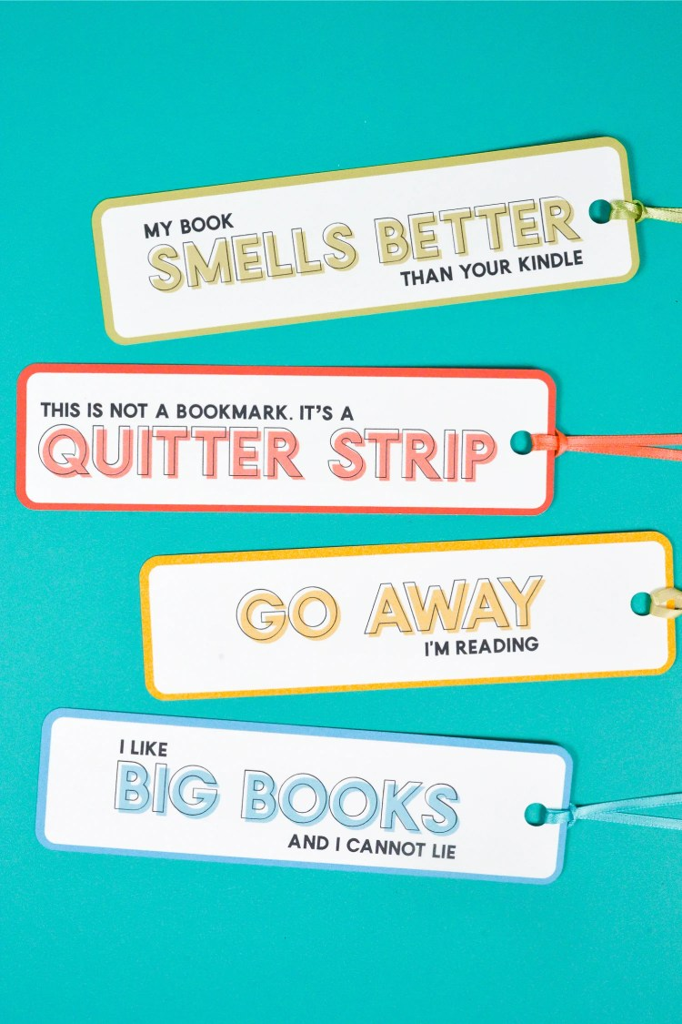 Four bookmarks with four funny sayings in four different colors!
