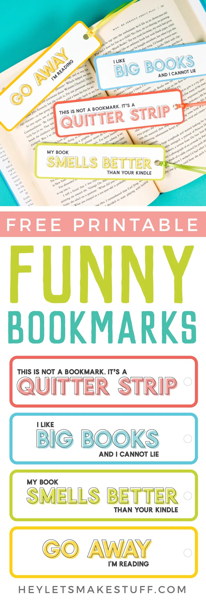 photograph regarding Free Printable Bookmarks Pdf called Amusing Bookmarks - a Cost-free Printable - Hey, Permits Deliver Things
